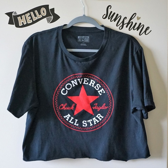 0b7df0ce7c8 Converse Tops - Converse All Star Black  Red Cropped Graphic Tee L